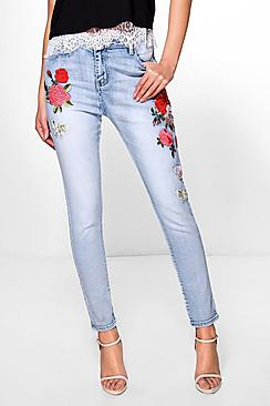 Sarah High Rise Heavy Embroidery Skinny Jeans