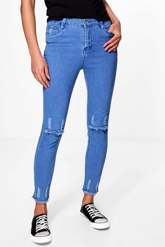 Daisy High Rise Destroyed Knee Hem Skinny Jeans