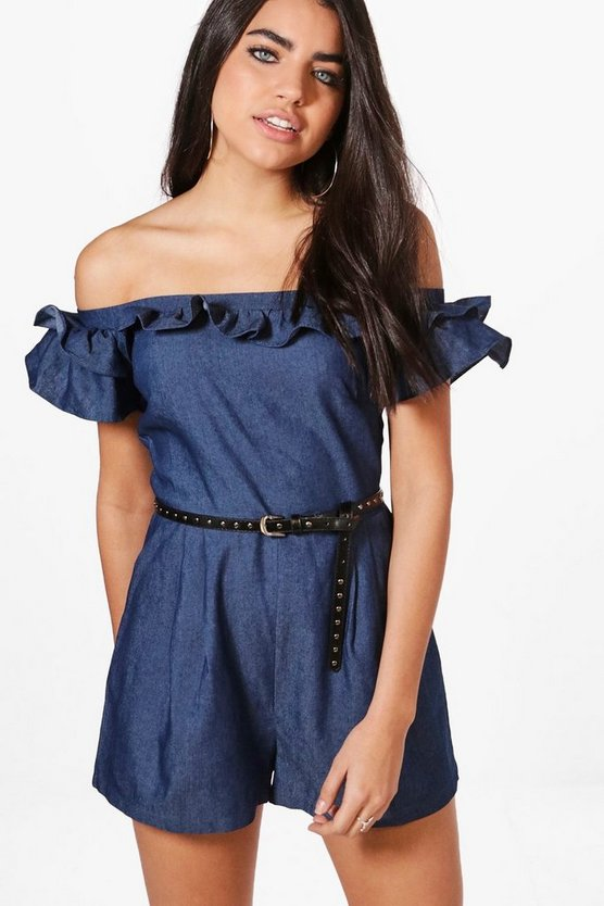 Lola Off The Shoulder Frill Chambray Playsuit