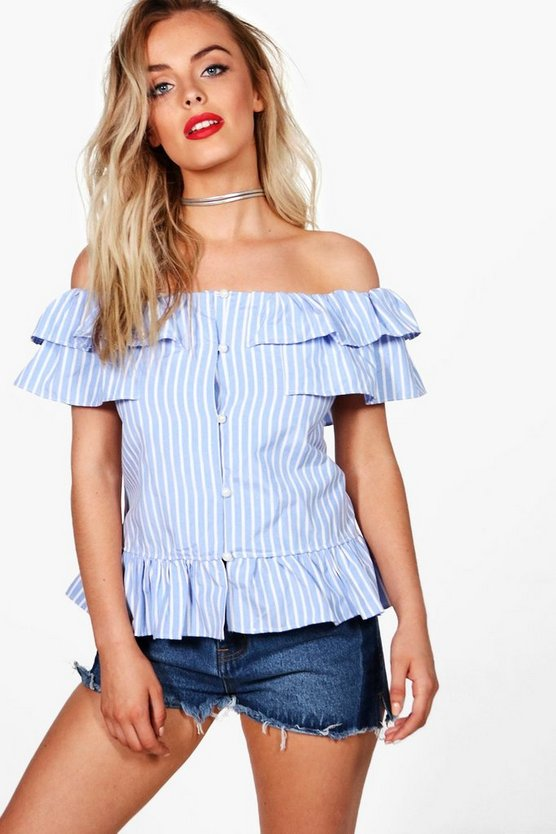 Emily Button Front Off The Shoulder Chambray Top
