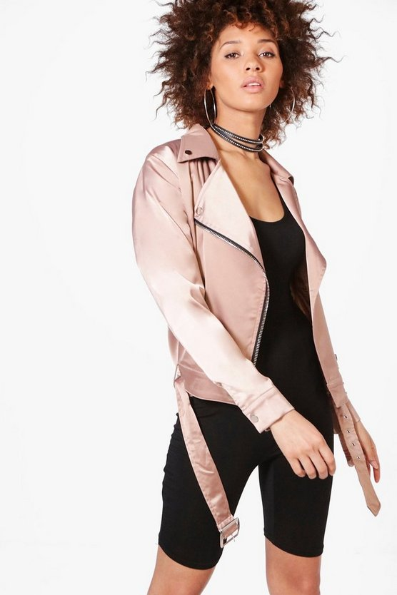 Emma Satin Biker Jacket