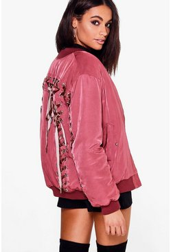 Sarah Velvet Lace Up Back Bomber