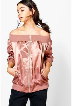 Amy Off The Shoulder Satin Bomber