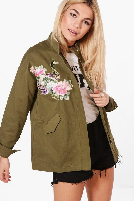 Lucy Boutique Floral Embroidered Utility Jacket