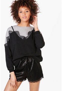 Lucy 2 in 1 Lace Trim Sweatshirt