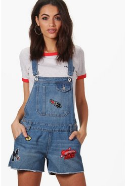 Amelie Patch Denim Dungaree Shorts