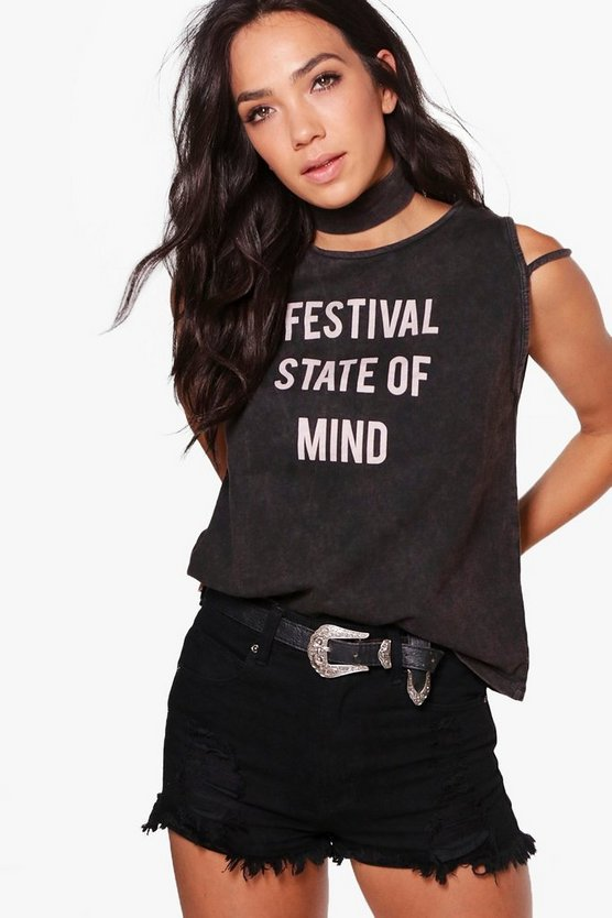 Lucy Acid Wash Festival State Of Mind Choker Top