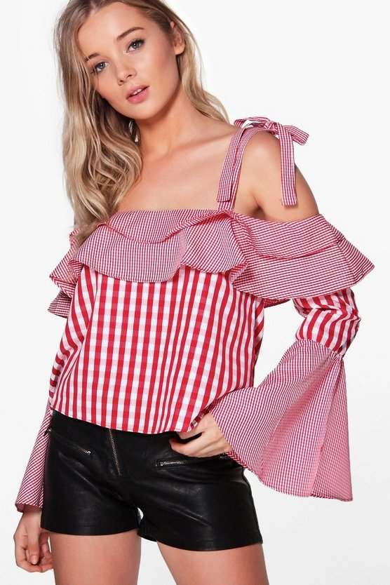 Hallie Gingham Tie Bell Sleeve Off The Shoulder Top