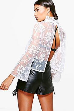 Anna Boutique Embroidered Organza Open Back Top