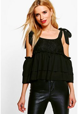 Julia Tie Shoulder Lace Cold Shoulder Top