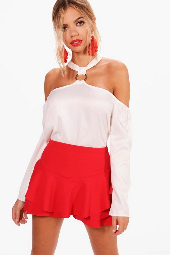 Phoebe Eyelet Choker Cold Shoulder Top