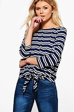 Sarah Stripe Tie Front Long Sleeve Top