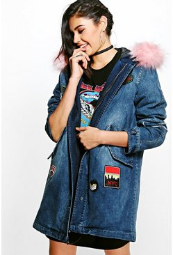 Karen Faux Fur Hooded Denim Parka