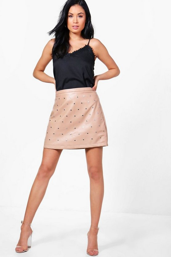Camille Leather Look Studded A Line Mini Skirt