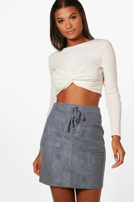 Enna Lace Up Front Suedette Mini Skirt