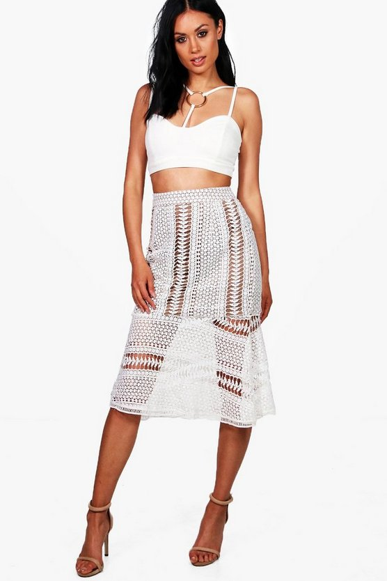 Boutique Imani Crochet Lace Peplum Midi Skirt