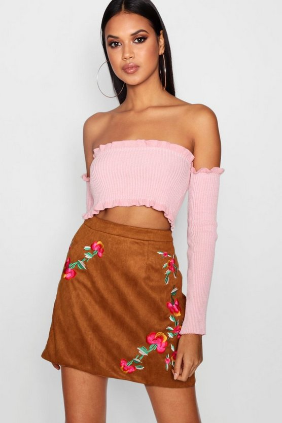 Harper Embroidered A Line Suedette Skirt