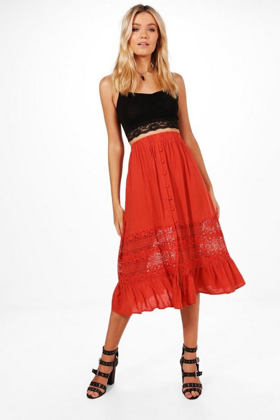 Adalia Lace Insert Button Front Midi Skirt