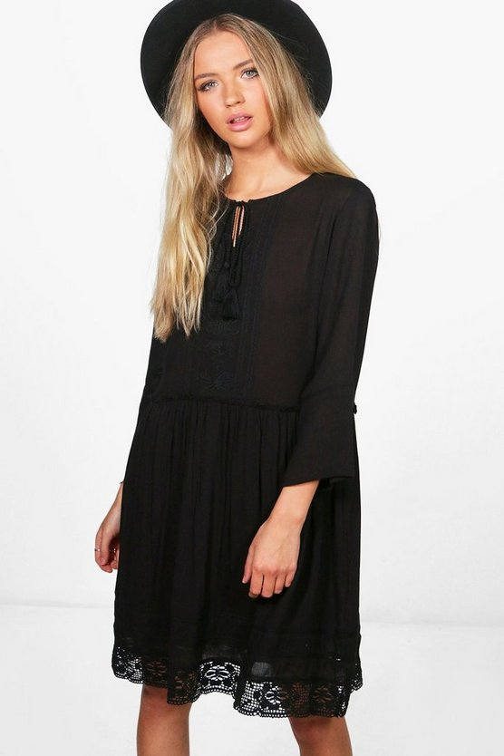 Melanie Embroidered Smock Dress