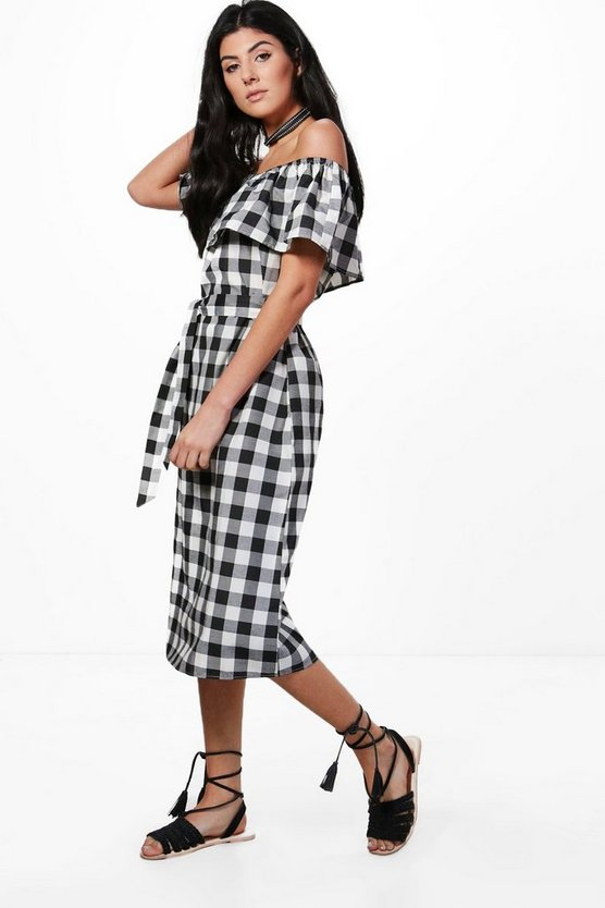 Off Shoulder Gingham Midi Dress