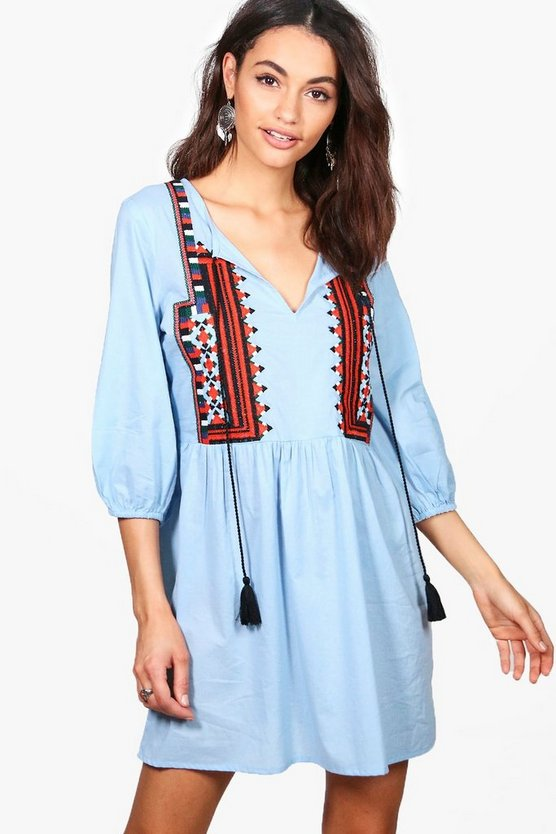 Boutique Ella Embroidered Aztec Smock Dress