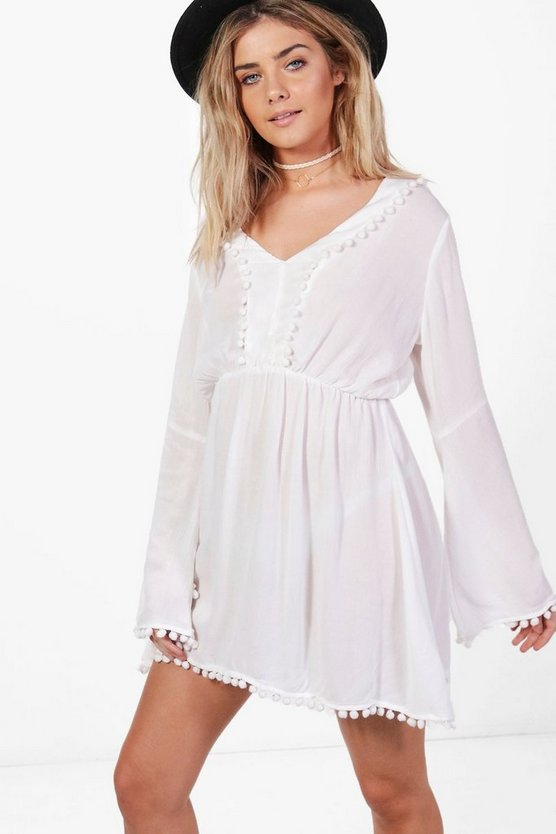 Taylor Cheesecloth Pom Pom Skater Dress