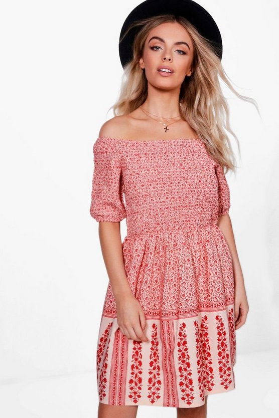 Rachel Sheered Top Printed Shift Dress