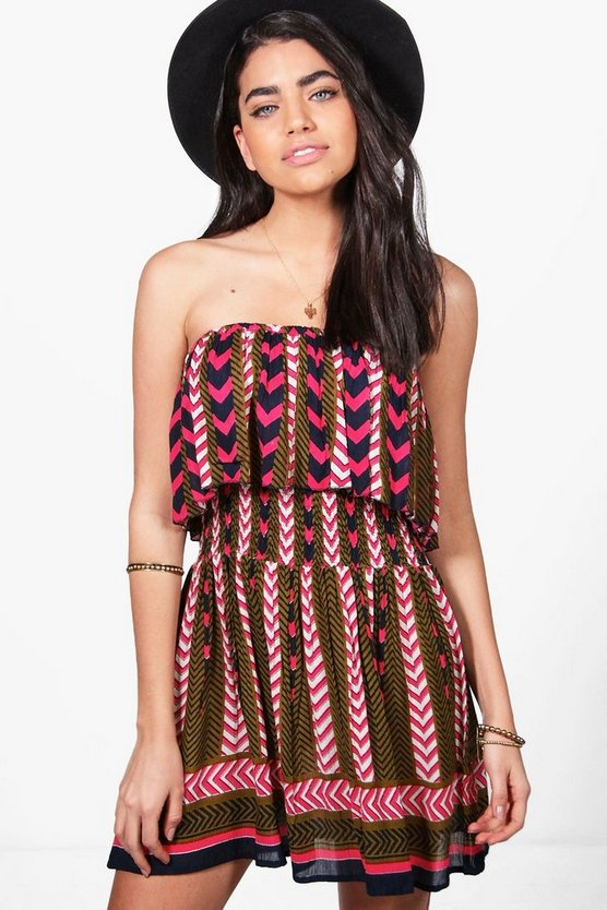 Alicia Off Shoulder Printed Shift Dress