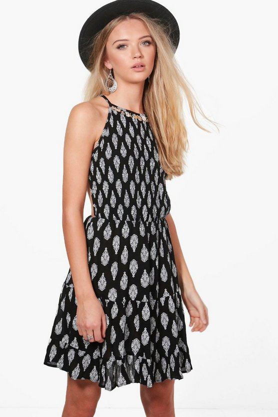 Sonia Halterneck Coin Printed Sun Dress