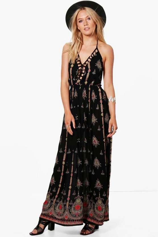 Eliza Cut Out Front Border Print Maxi Dress