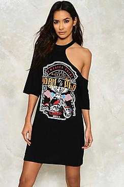 Kayla Choker Spliced Slogan T-Shirt Dress