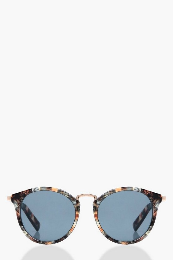 Anna Patterned Frame Round Sunglasses