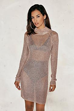 Melissa High Neck Metallic Knitted Midi Dress