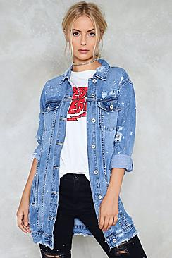 Abbie Distressed Oversized Denim Jacket