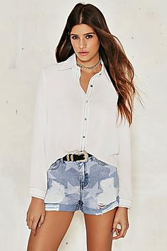 Lauren Distressed Star Print Denim Short