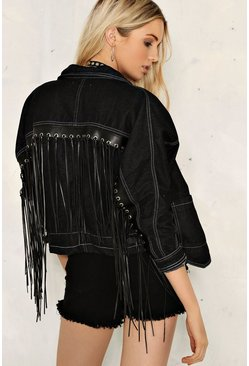 Clara Fringe Denim Jacket
