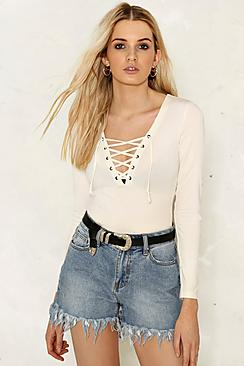 Ava Fringed Hem High Waisted Denim Shorts