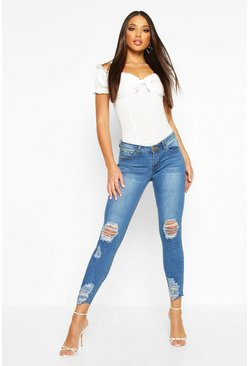 Lauren Distressed Knee And Ankle Skinny Jeans