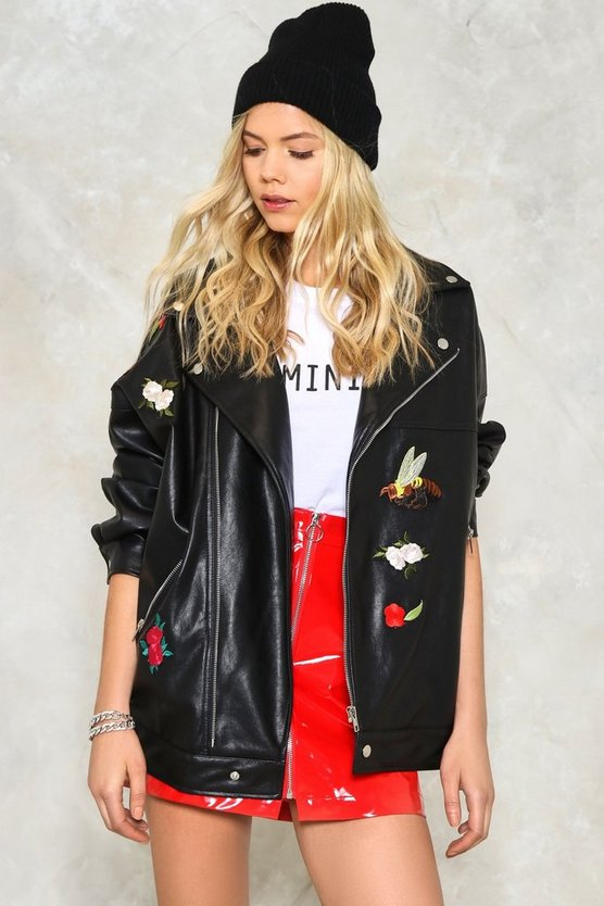 Wooster Oversized Embroidered Moto Jacket