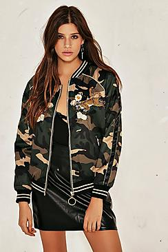 Heidi Camo Tiger Badge Bomber