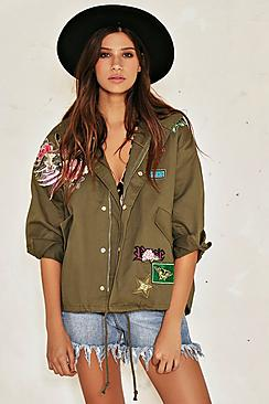 Sophia Embroidered Short Parka