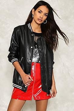 Lilly Leather Look Longline Baseball Bomber