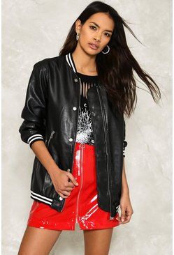 Donny Longline Vegan Leather Bomber Jacket