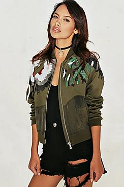 Alyssa Sequin Embellished Bomber Jacket