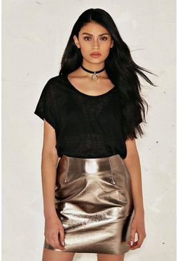 Bethany Metallic Vegan Leather Skirt