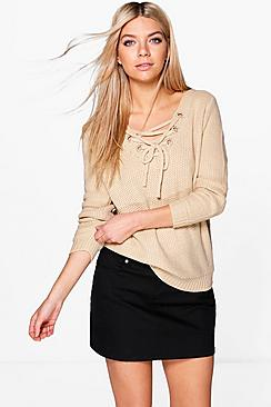 Caroline Lace Up Fisherman Jumper
