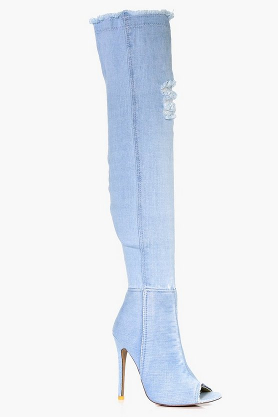 Zoe Distressed Peeptoe Thigh High Boot