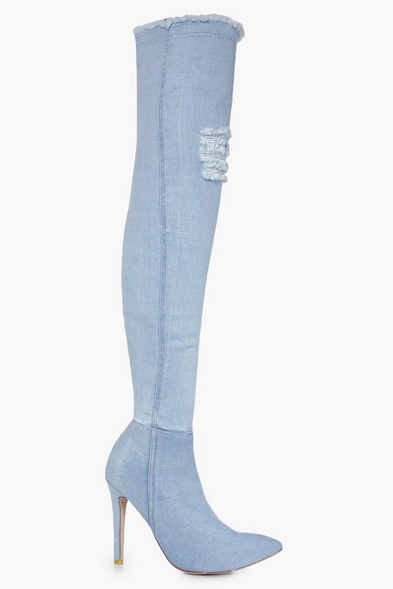 Mia Distressed Denim Pointed Thigh High Boot