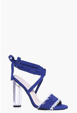 Martha Denim Wrap Strap Clear Heels