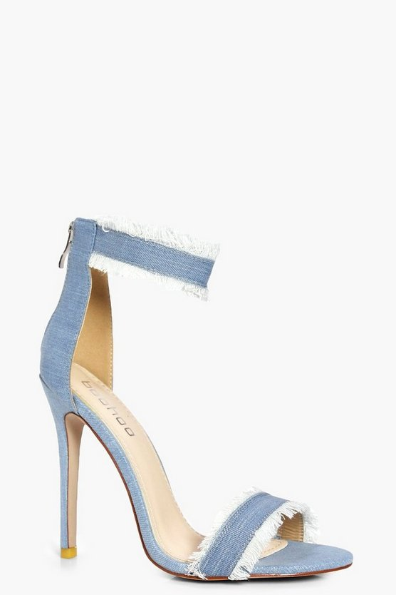 Laila Frayed Edge Denim Two Part Heels